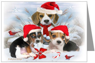 beagle puppies christmas cards