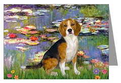 beagle and lillies