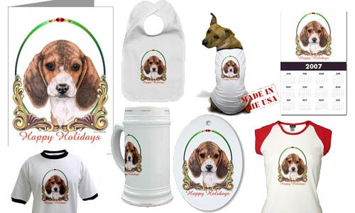 beagle puppy christmas picture