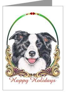 Border Collie Happy Holidays Cards