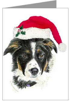 Border Collie Puppy Santa Christmas Cards