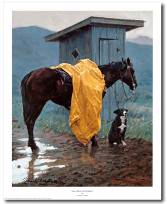 horse and border collie art