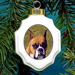 boxer dogs christmas ornament