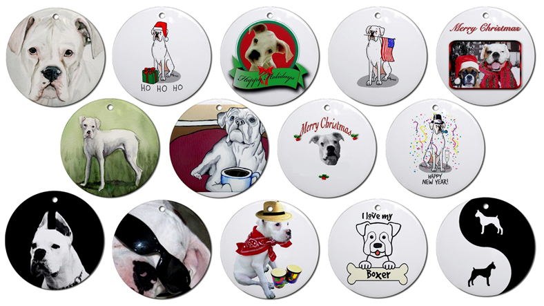 White Boxer Christmas Ornaments