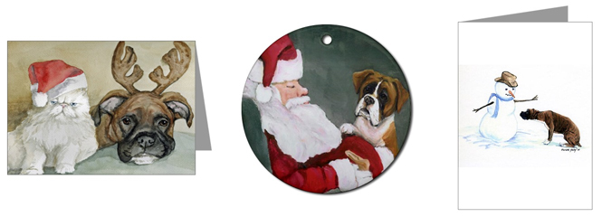 Christmas Designs For Cards. Three Boxer Christmas Designs