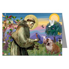 St. Francis and English Bulldog