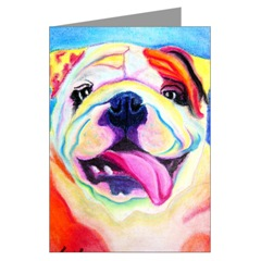English Bulldog Pop Art Greeting Cards