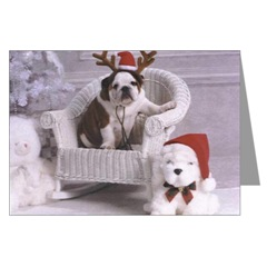 English Bulldog and Reindeer Christmas Cards