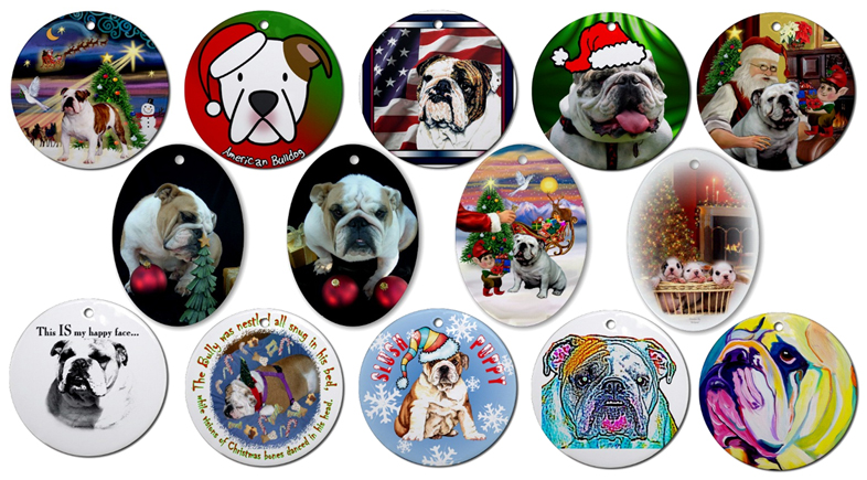 Dogs Bulldog Christmas Cards Bulldog X Mas Tree Ornaments Holiday ...