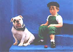 Kid And Bulldog Birthday card