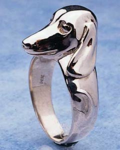 Dachshund Sterling Silver Ring