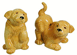 golden retriever pups salt and pepper shakers