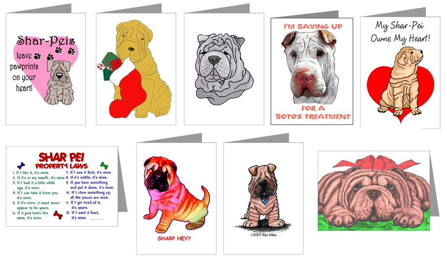 shar pei cartoon cards