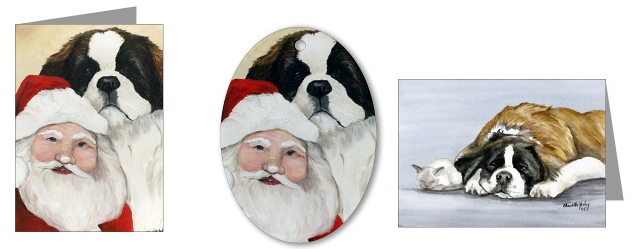 St Bernard Christmas Cards and Decor