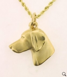 14K gold large Weimaraner head study