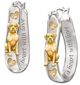 Heart Filled With Love Engraved Dog Breed Sterling Silver Earrings Boxer